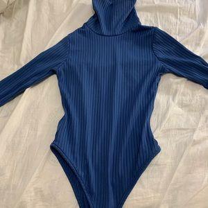 Blue Turtleneck Bodysuit